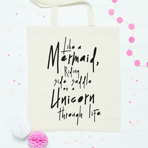 Mermaid And Unicorn Quote Tote Bag - bags, purses & wallets