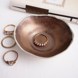 Handmade Mini Gold Ceramic Pottery Ring Dish - jewellery storage & trinket boxes