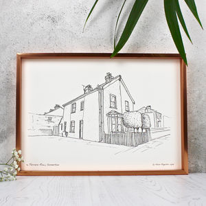 Personalised House Portrait Line Drawings - housewarming gifts