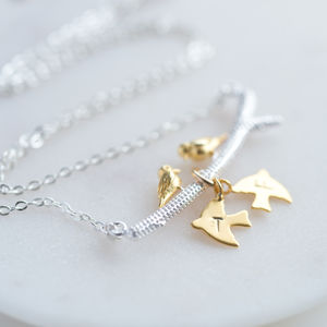 Gold Birds On Branch Necklace