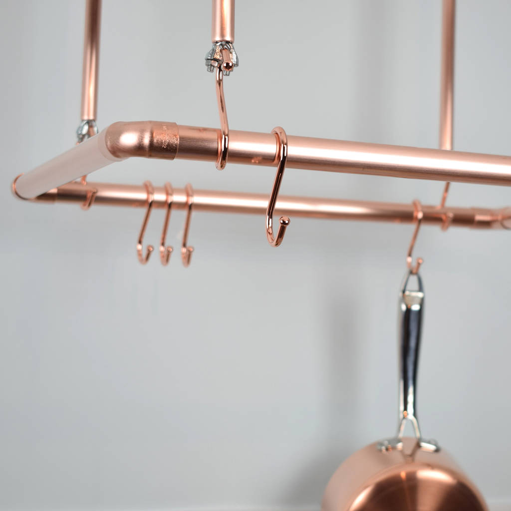 Pan Rack Storage Ceiling Copper Rail Pot