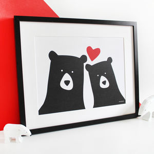 Bear Couple 'Selfie' Personalised A3 Print - personalised