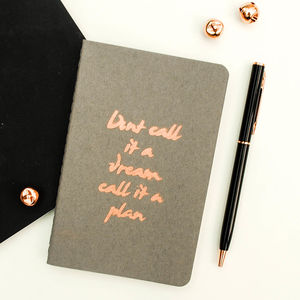 Luxury Hand Printed Quote Copper Moleskine Notebook - mindfulness trend