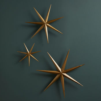 Set Of Three Gold Wall Stars