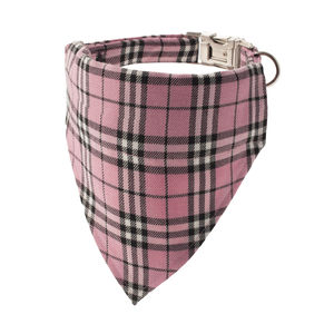 Candyfloss Pink Plaid Bandana Dog Collar - pet collars