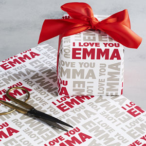 Personalised Valentines I Love You Wrapping Paper - ribbon & wrap