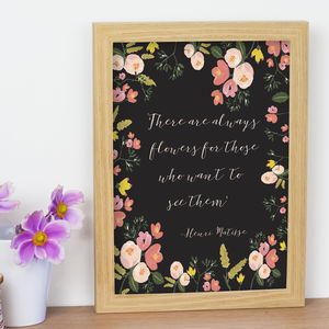 Floral Quote Print - typography