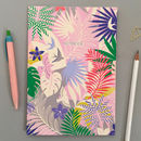 A5 Tropical Print Notebook In Pink