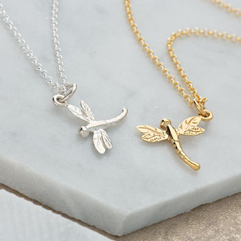 Dragonfly Necklace With Personalised Gift Message
