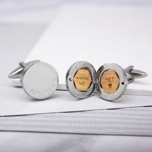 Personalised Coordinate Round Locket Cufflinks