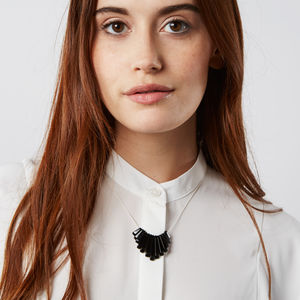 Monochrome Silk And Onyx Statement Necklace - necklaces & pendants