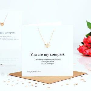 Gold Compass Necklace Valentines Gift And Card