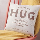 Personalised 'Hug Across The Miles' Locations Cushion - shop by room
