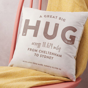 Personalised 'Hug Across The Miles' Locations Cushion - bedroom