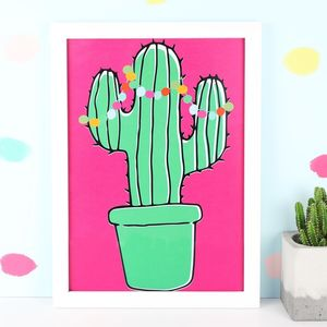 Tropical Cactus A4 Illustrated Print - nature & landscape