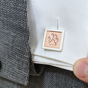 Personalised Silver And Copper Paw Print Cufflinks
