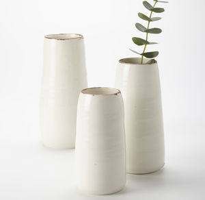 Ceramic Porcelain Bronze Lustre Detail Vase - living room
