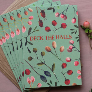 Deck The Halls Vintage Style Botanical Christmas Cards