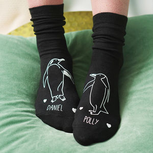 Personalised Penguin Socks - stocking fillers under £15