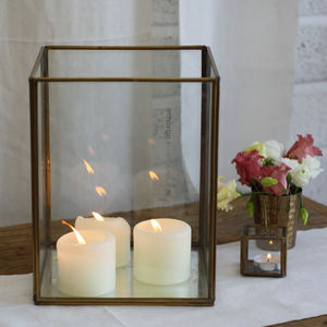 Large Brass Lantern Mirror Base - candles & candle holders
