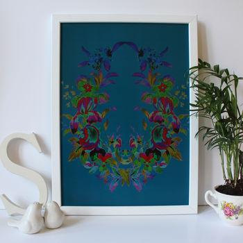 Turquoise Teal Romantic Floral Wreath Art Print
