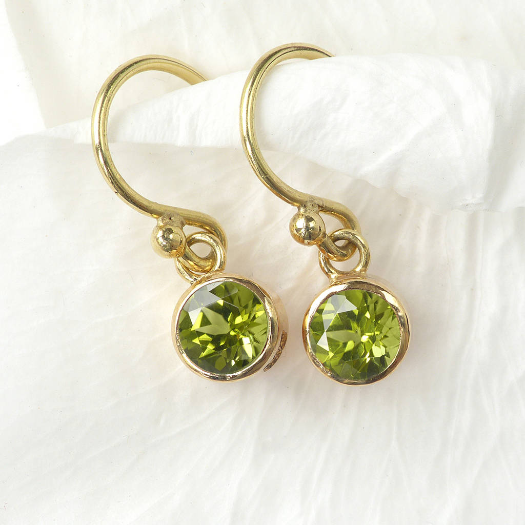 earrings and gold white diamonds with yellow in peridot tw