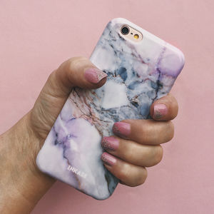Pink Grey White Marble iPhone Case