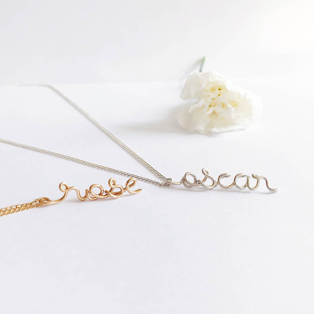 5d94d3bfb Personalised cursive name Rose Oscar wire vertical pendant necklace in 14K  yellow gold filled and Argentium