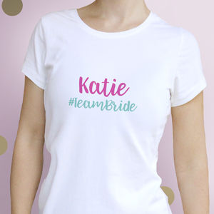 Personalised Team Bride T Shirt - hen party styling