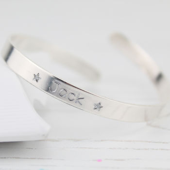 Personalised Silver Engraved Christening Bangle
