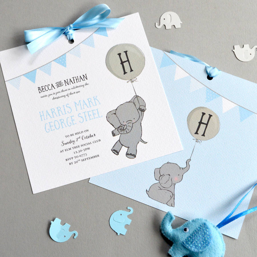 Elephant Christening Invitation elephant christening invitation by