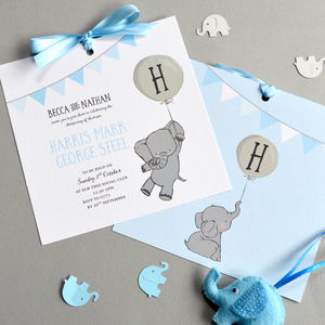 Elephant Christening Invitation - invitations