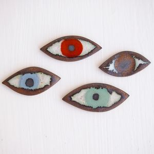 Handmade Ceramic Eye Pin Jewellery Badge - pins & brooches