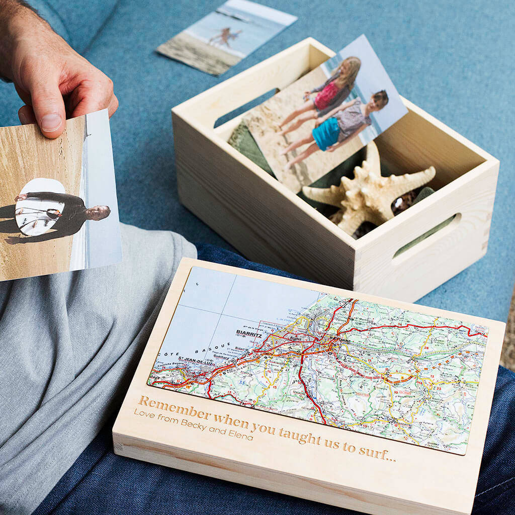 Personalised Map Location Storage Box For Him