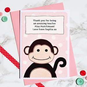 'Little Monkey' Thank You Teacher Card