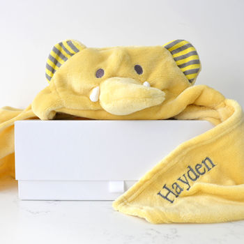 Personalised Yellow Elephant Hooded Baby Blanket