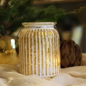 Elegant White And Gold Striped Vase Tea Light - kitchen