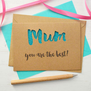 Personalised Mum Glitter Cut Out Card