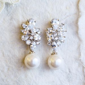 Adela Pearl And Crystal Silver Earrings
