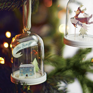 Snowy House Christmas Ornament Papercut Cloche - gift guide edit