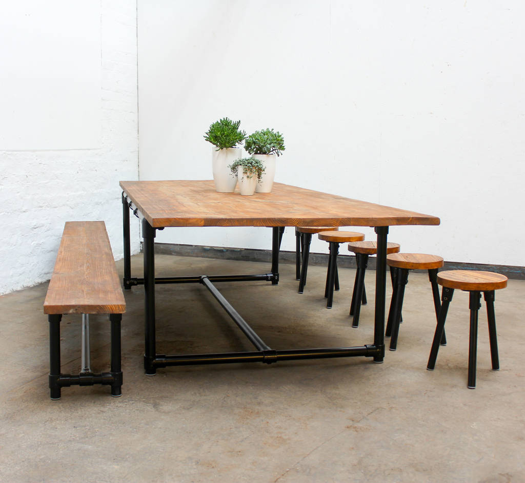 noralyn large dining table with bench and six stools by urban grain rh notonthehighstreet com