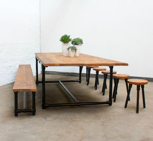Noralyn Large Dining Table With Bench And Six Stools