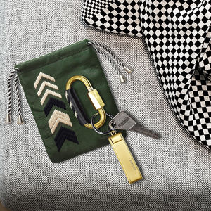 Carabiner Keyring And Personalised Leather Pouch, Green - gifts for him