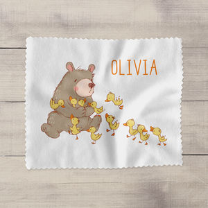 Personalised Bear And Ducks Glasses Cleaning Cloth
