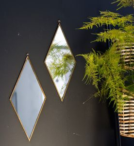 Antique Brass Diamond Mirror - mirrors