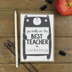 Best Teacher Personalised Thank You Card