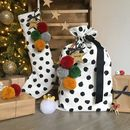 Monochrome Pom Pom Stocking And Santa Sack Set Red