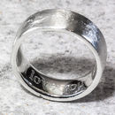 Personalised Sterling Silver 8mm Flat Sand Cast Ring