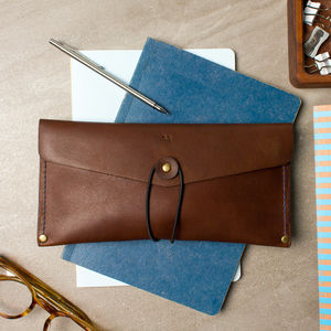 Personalised Leather Stitched Pencil Case - sale