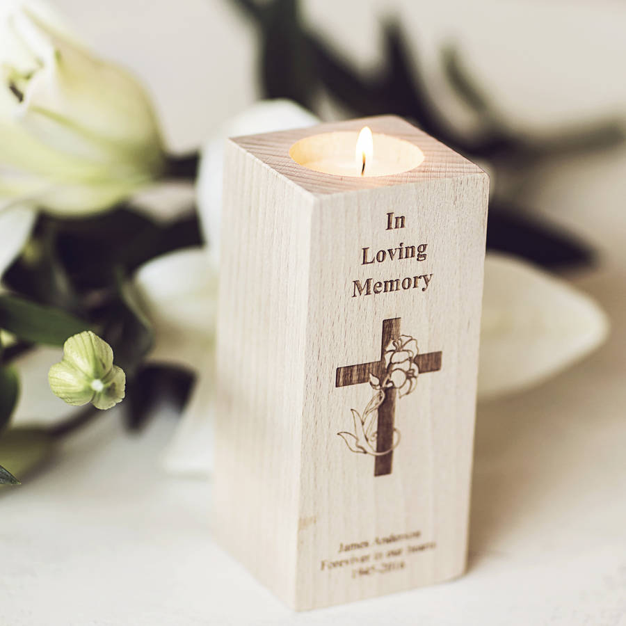 In Loving Memory Personalised Tealight Candle Holder By Natural Gift